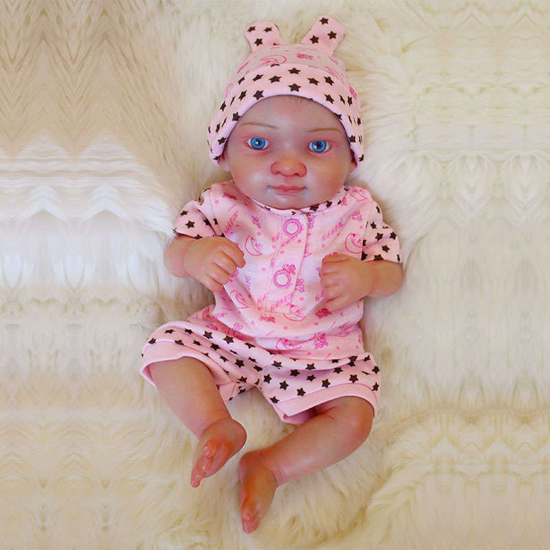 "10/"" Mini Reborn Baby Girl Dolls Lifelike Full Body Silicone Vinyl Gift for Kids"