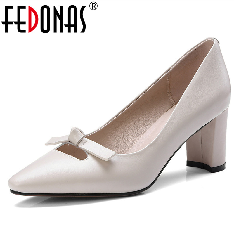 FEDONAS 2018 New Women Spring Summer Genuine Leather Shoes High Heels Women Pumps Pointed Toe Butterfliy Wedding Shoes Woman hee grand sweet patent leather women oxfords shoes for spring pointed toe platform low heels pumps brogue shoes woman xwd6447