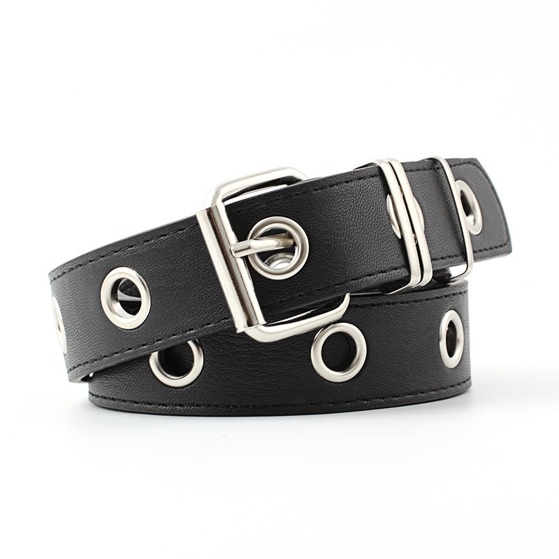 Fashion Punk Belt For Women Hot Casual Personality Design Black Students Waist Female Jeans Pin Buckle PU Leather Belt 405