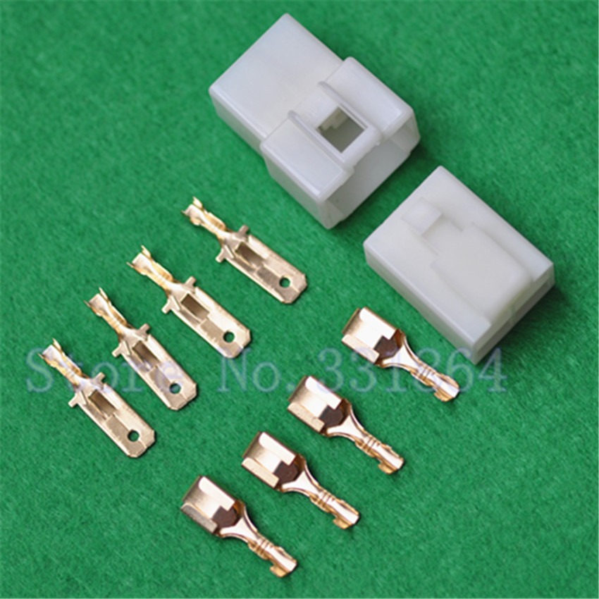 Double row 4-pin car connector 6.3mm electric motorcycle wiring male and female plug 4P car connector free shipping видеоигра бука saints row iv re elected