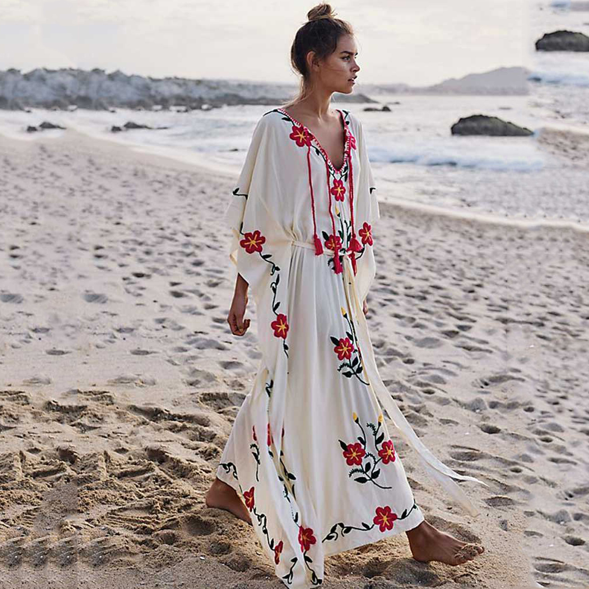 Jastie Boho Floral Embroidered Kaftan Women Dress V-Neck with Tassels Summer Dress Oversized Batwing Sleeve Swimsuit Beach Dress outfits para playa mujer 2019