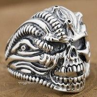 925 Sterling Silver Skull Mens Biker Ring 9G012A Mens Jewellery