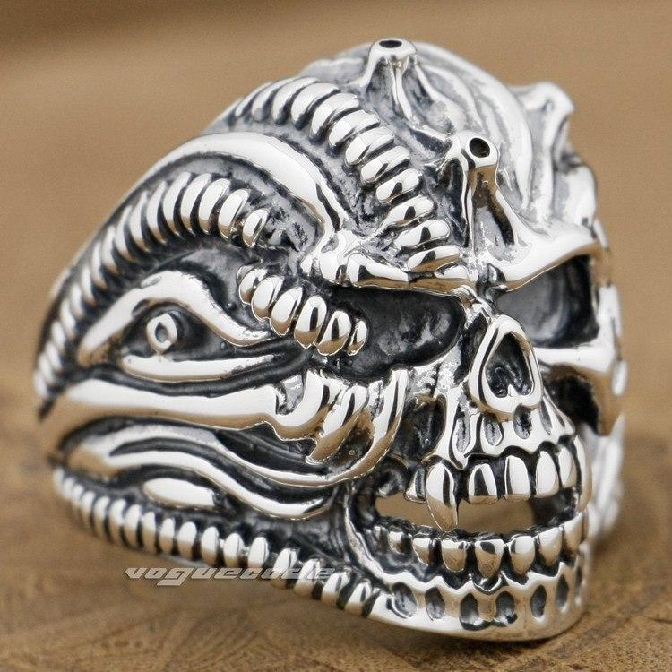 Bague en argent Sterling 925 avec crâne pour hommes 9G012A bijoux pour hommes