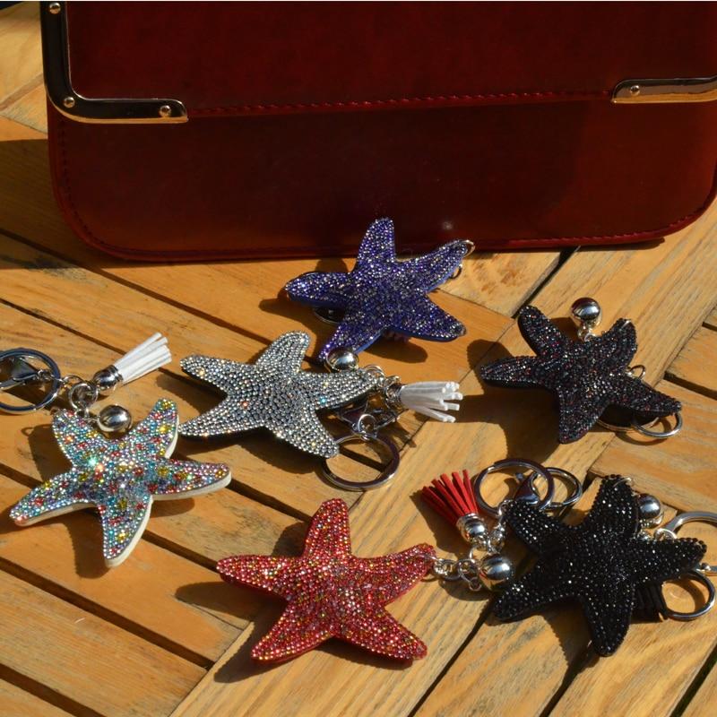 BONAMIE Star Bag Ornament Bag Hanger Decoration Jewelry Leather Pendant Gift Couple Key Crystal Car Hanger