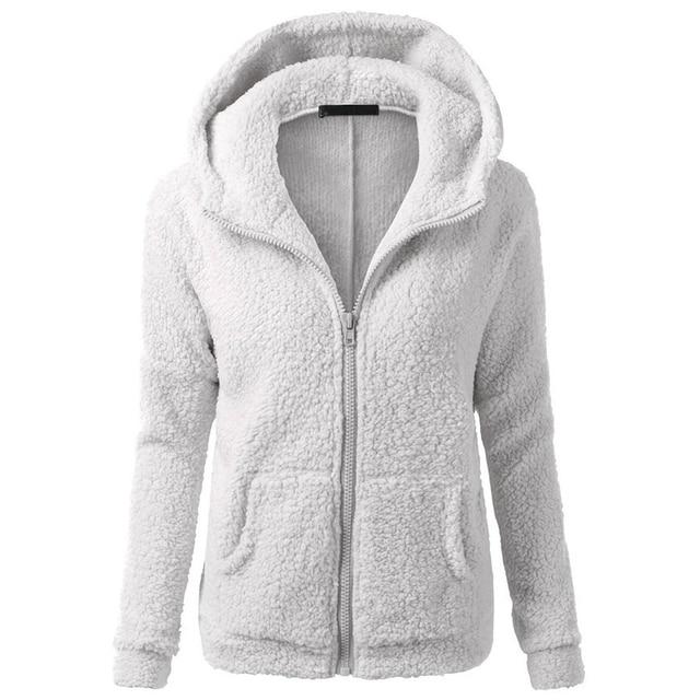 CWLSP Winter Sweatshirt Coat Women Warm Lamb Fleece Hooded Zipper up Casual tops Pockets Women Hoddies sudaderas mujer QA2029