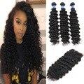 7а класс малайзии девы волос с закрытие глубокая волна человеческих волос соткет с пучками малайзии глубокая волна вьющиеся волосы 3 пучки