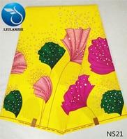 LIULANZHI 100 Cotton Printing Wax Fabric 6yards London Wax Veritable Ankara Wax Hollandais Super Wax Fabric