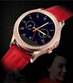 Luxury Waterproof Bluetooth Lady Watch Women Bracelet Touch Smartwatch with Crystal Diamond and Leather Strap
