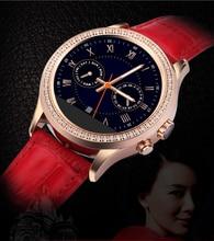Luxus Wasserdichte Bluetooth Damenuhr Frauen Armband Touch Smartwatch mit Kristall Diamant und Lederband