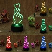 YAM USB Новинка 7 цветов Романтический меняющий палец сердце светодиодный ночсветильник 3D настольная лампа волшебный ночсветильник