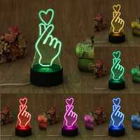YAM USB Novelty 7 Colors Romantic Changing Finger Heart LED Night Light 3D Desk Table Lamp Magic Night light