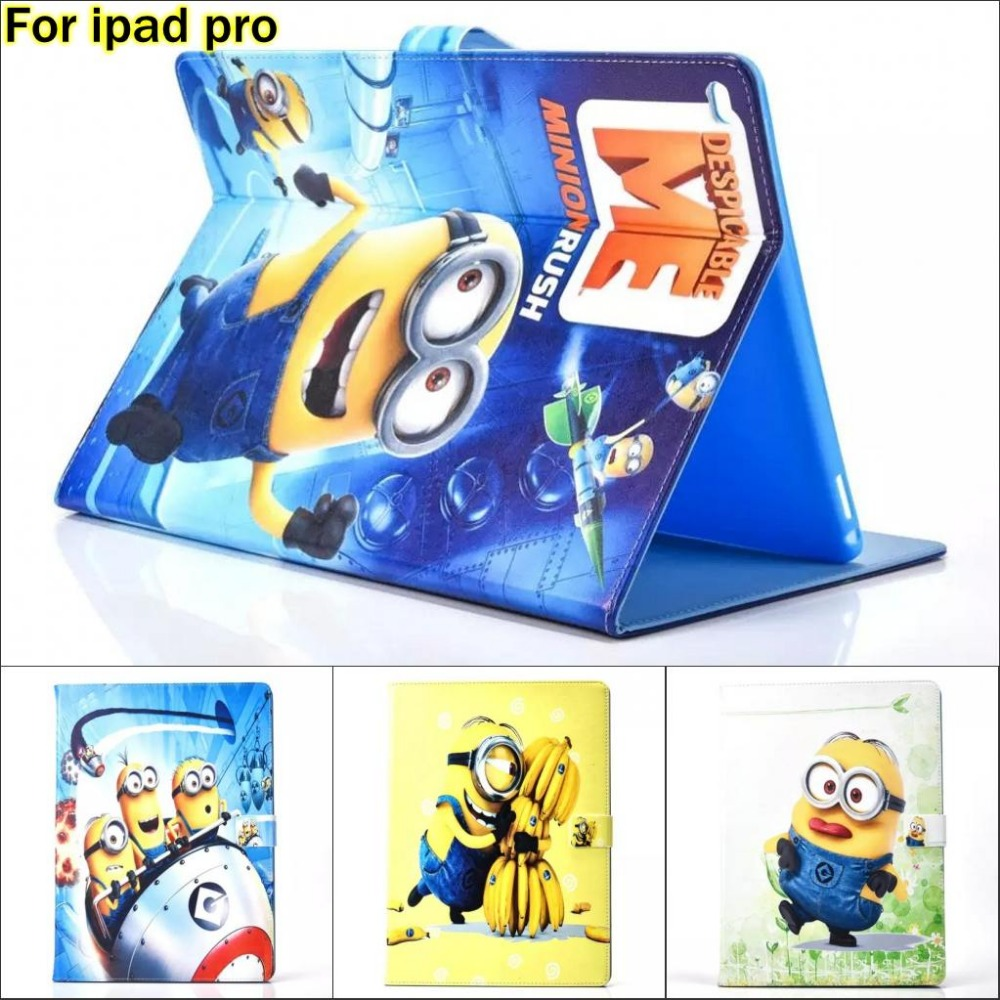Fashion Cartoon New Despicable Me Minions Character PU Leather Stand Case Cover For Apple ipad Pro 12.9 With screen protector