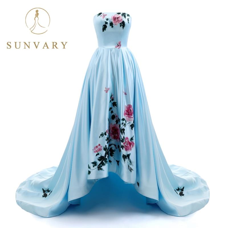 Sunvary 2018 New Sweetheart Hand Drawing Prom Dress Long High Low - Հատուկ առիթի զգեստներ - Լուսանկար 1