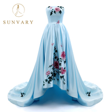 Sunvary 2018 New Sweetheart Hand Drawing Prom Dress Long High Low vestido-de-fiesta Плиссированное платье Sweep Train Prom Gown Lace Up