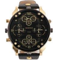 Relojes de cuarzo de lujo de la mejor marca para Hombre de Shiweibao, Relojes de pulsera militares de cuatro zonas horarias, Relojes de cuero para Hombre