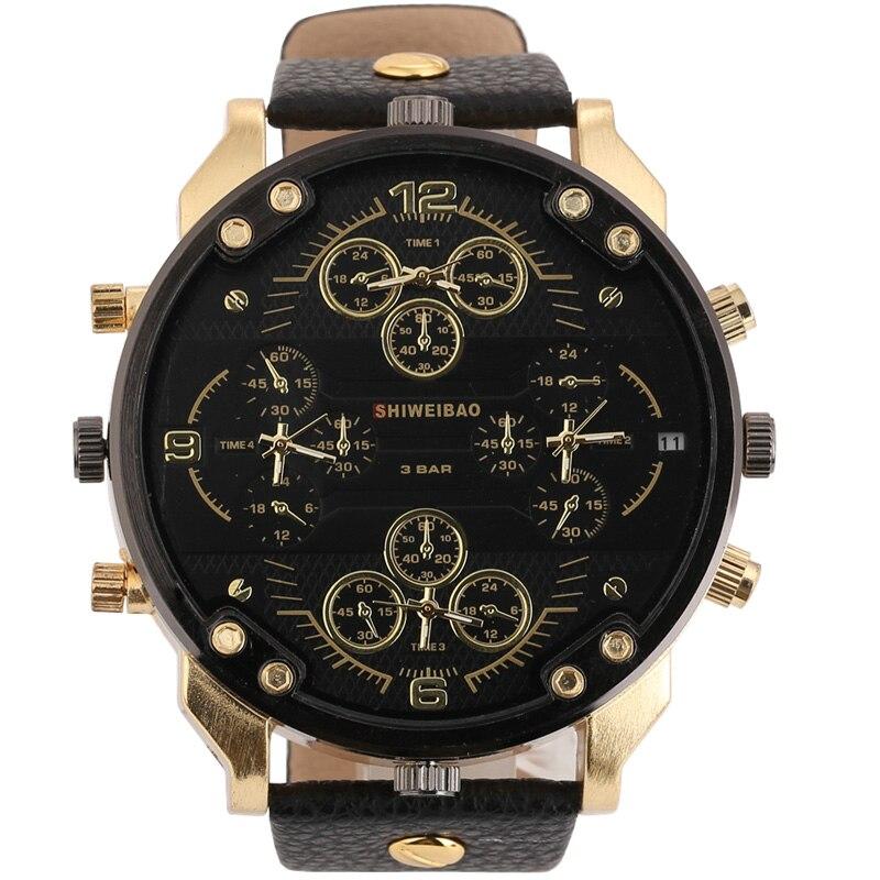 Relojes de pulsera militares de cuatro zonas horarias de cuarzo de marca superior para Hombre
