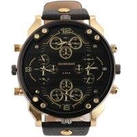 Shiweibao fajne męskie zegarki Top marka luksusowy zegarek kwarcowy dla mężczyzn cztery strefy czasowe wojskowe zegarki na rękę skórzane Relojes Hombre w Zegarki kwarcowe od Zegarki na