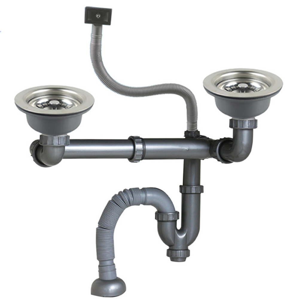 Talea stainless steel Double drainpipe Rear position with overflow sink  Drain Kit Kitchen Fixtures
