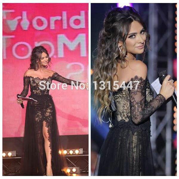 Caftán marroquí De noche De encaje negro vestidos manga larga 2016 ...