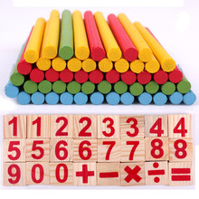 купить Baby Counting Digital Sticks Early Education Wooden Intelligence Building Blocks Montessori Mathematical Gift Toys for Children по цене 398.62 рублей