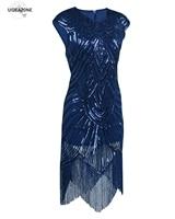 Paillette Sequins Tassel Dress Deep V Neck Vest Dresses Women 1920 S Style Flapper Vintage Gatsby
