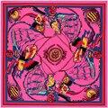 Саржа Шелковый Шарф Женщин 130*130 см Евро Стиль Морской Волны парусная Лодка Печати Квадратные Шарфы Высокое Качество Подарок Мода Большой платки
