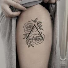 Водостойкие временные фальшивые татуировки наклейки геометрический треугольник Серые цветы элегантный большой дизайн Body Art Make Up Инструменты