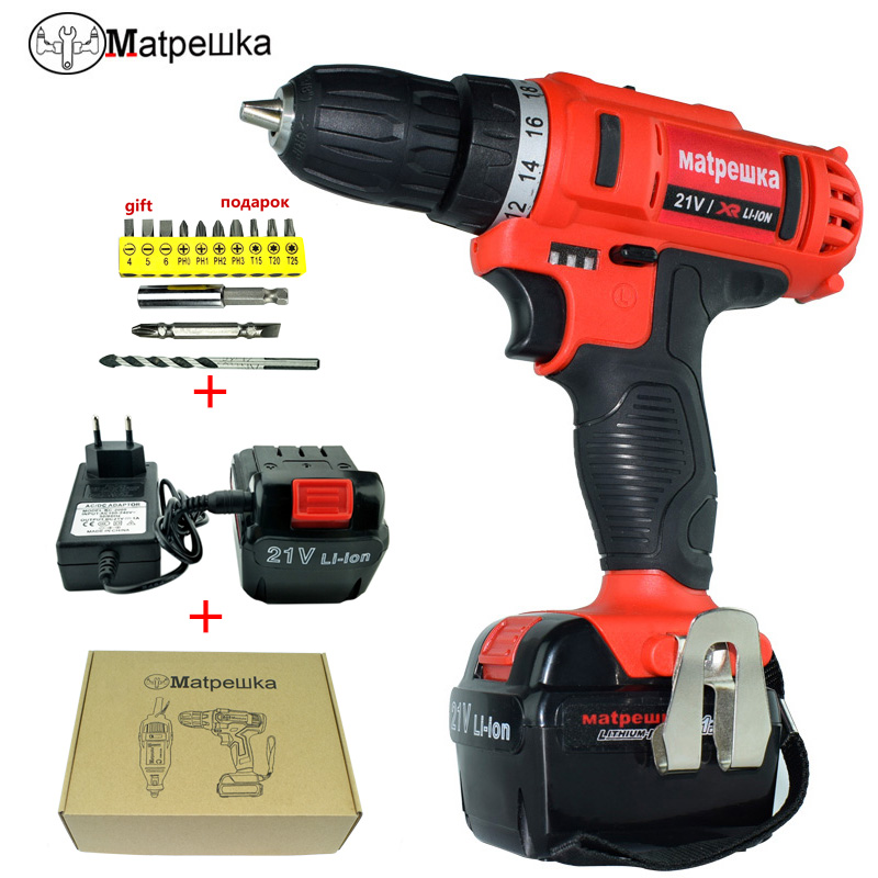 21V Electric Power Tools Multifunctional Electric Screwdriver Cordless Drill Rechargeable Battery Cordless Electric Drill 2pcs lot ni cd 14 4v 3000ma rechargeable battery pack for makita power tools cordless drill pa14 1433 jr140d 1422 1420