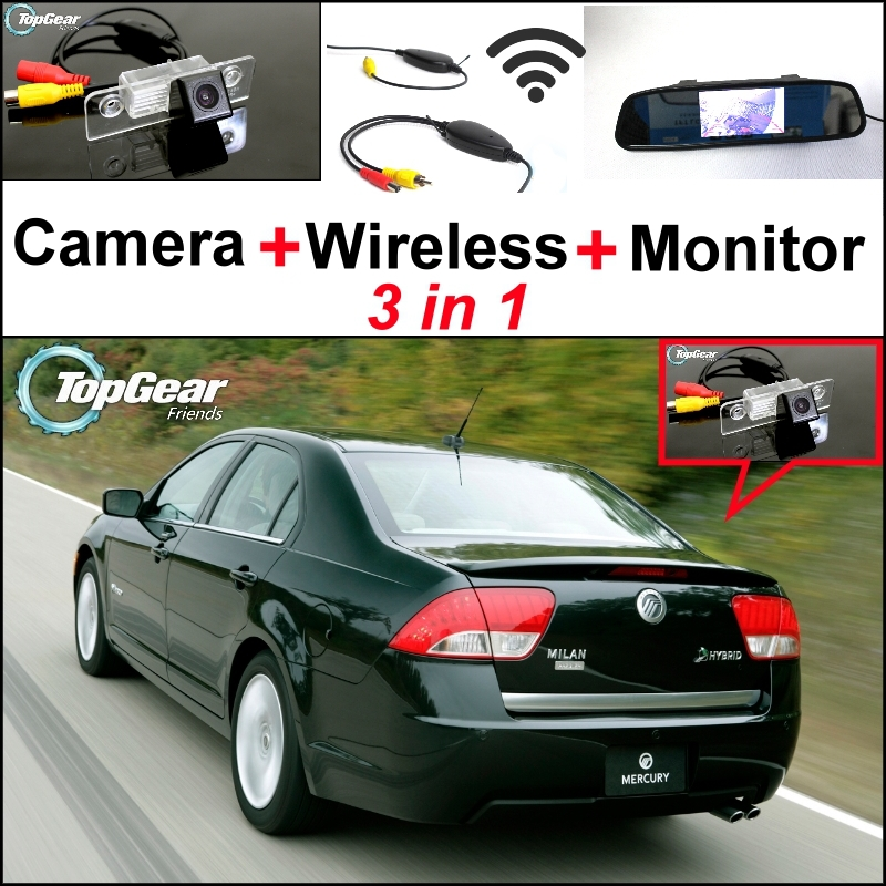 3 in1 Special Rear View Camera + Wireless Receiver + Mirror Monitor EASY DIY Backup Parking System For Mercury Milan Sable