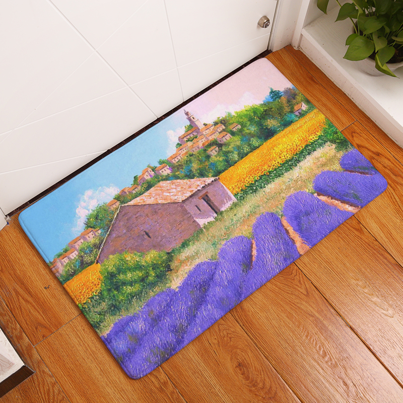 2017 new landscape print carpets non slip kitchen rugs for