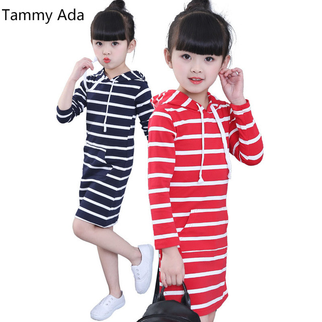 567da15ddd00 Tammy Ada Children Dresses Spring Striped Girls Hoodies Dresses Kids ...