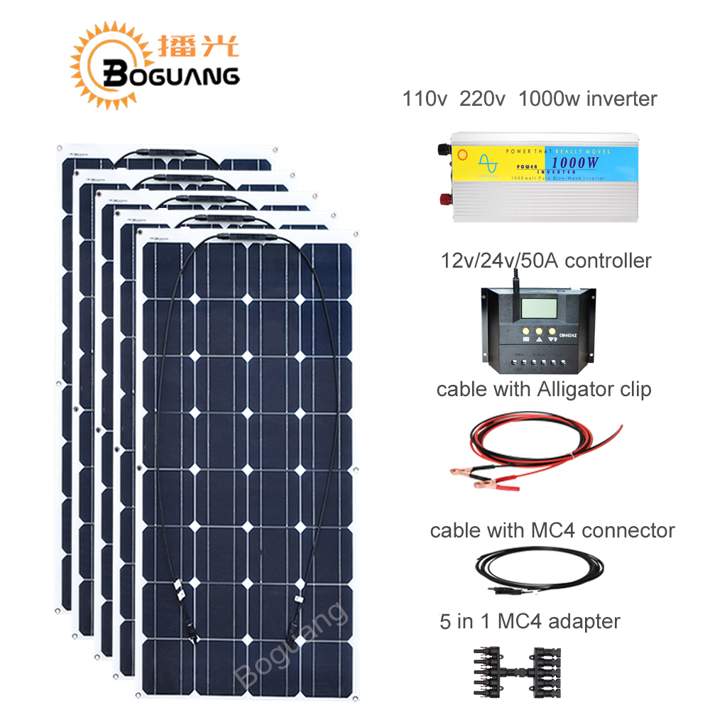 Boguang 100w solar panel 50A controller cable MC4 connector adapter 500w solar DIY kit system for 12v battery RV yacht car power boguang 500w semi flexible solar panel solar system efficient cell diy kit module 50a mppt controller adapter mc4 connector