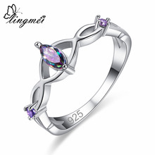 lingmei New Arrival Marquise Cut Multi-color Purple CZ Silver Color Ring Size 6 7 8 9 Fashion Simple Exquisite Jewelry Wholesale