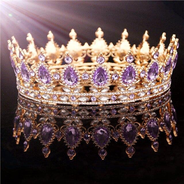 42f1f49a82c76b Gold Lila Königin König Braut Krone Für Frauen Kopfschmuck Prom Pageant Hochzeit  Tiaras und Kronen Haar Schmuck Zubehör