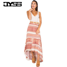 2017 Bohemian beach skirt summer high waist zipper irregular print skirt long skirt 81071