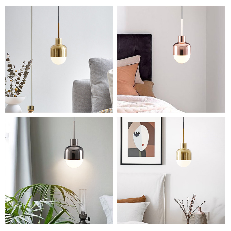 cheapest LukLoy Nordic Bedside Kitchen Island Pendant Light Modern Bedside Hanging Lamp LED Lighting Fixture Popular Suspension Lights