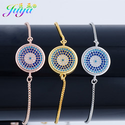 Juya New Arrival Ali Moda Micro Pave Colorful Zircon Greek Evil Eye Medusa Eye Charm Bracelets For Women Men Adjustable Bracelet