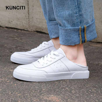 2019 Sneakers Women Tenis Espadrilles Genuine Leather Loafers Lace Up Ladies Leather Mules White Beige Casual Shoes F936 - DISCOUNT ITEM  35% OFF Shoes