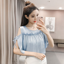 2018 new summer women's wear, cotton and hemp, pure color, round neck, short sleeved shirt, blouse, women's shirt.