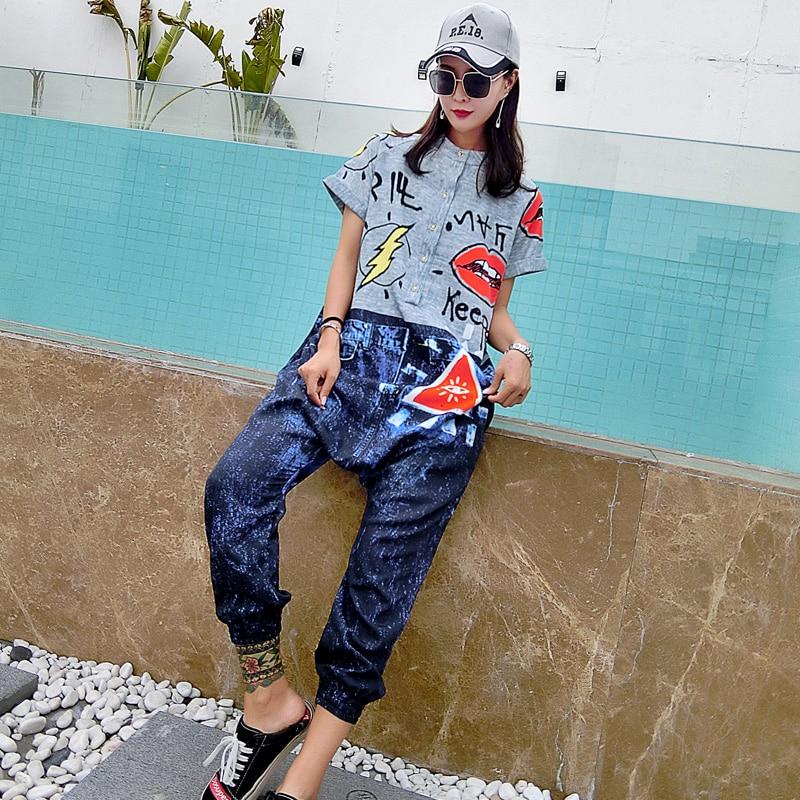 Hip-hop tidal brand 2018 summer new big pants pants jumpsuit letters printed loose large size ladies casual pants pants