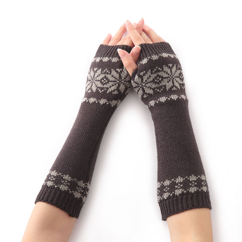 Acrylic Snowflake Jacquard Fingerless Arm Warmer Women Stretch Long Fingerless Long Gloves Women Sleeves Gloves Spring 2018