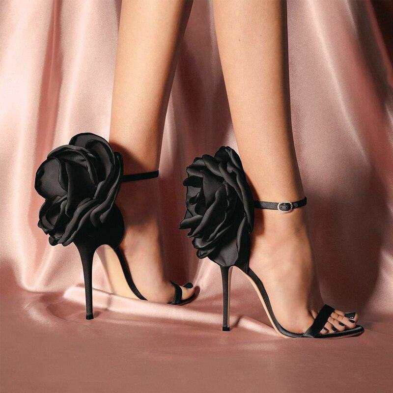 Sandalias Mujer 2019 New Flower Back Ankle Strap Sandals Stiletto High Heels Elegant Shoes Pink Black Satin Party Shoes WomanSandalias Mujer 2019 New Flower Back Ankle Strap Sandals Stiletto High Heels Elegant Shoes Pink Black Satin Party Shoes Woman