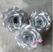 100Pcs/Lot Silver Roses Artificial Silk Flower Heads 10cm Kissing Ball Flowers Pomander Wedding Decoration