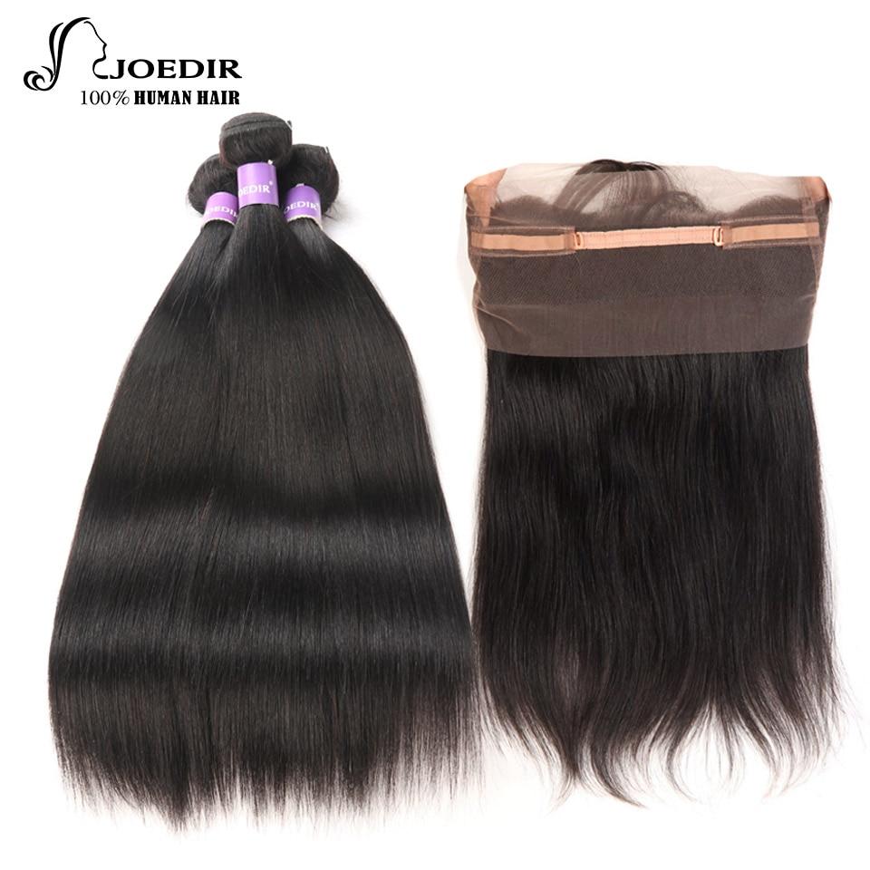 Joedir Natural Color malaysian Straight Hair Bundles With Closure Human Hair Weave 3 Bundles with 360 lace frontal Closure