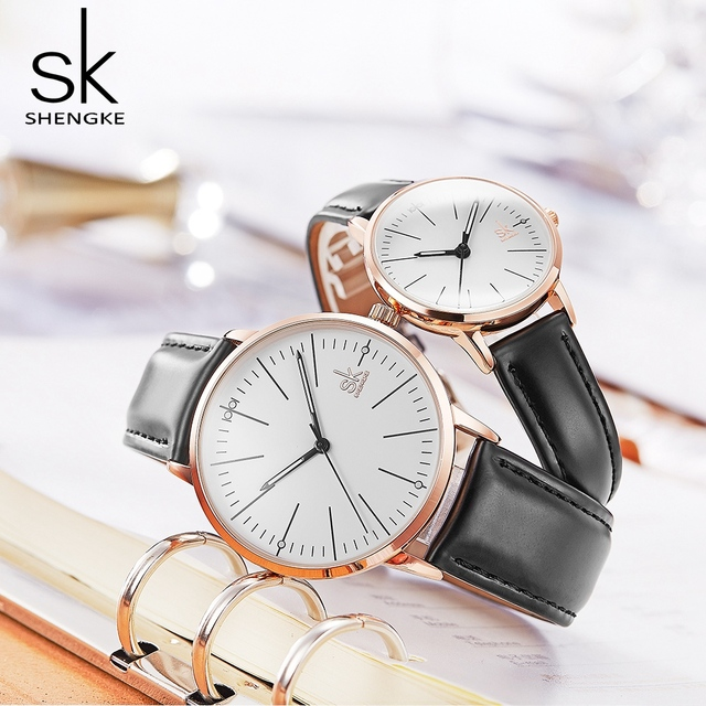 112caf857ef0 Shengke Black Fashion Leather Watches Women Men Quartz Watches Relogio 2019  New SK Couple Watches Christmas