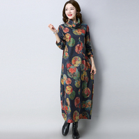 Vintage Autumn And Winter Women Woolen Dress Elegant Loose Printed Turtleneck Long Sleeve Maxi Long Dresses