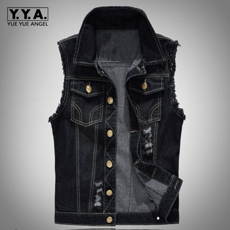 Fashion Mens Motorcycle Jean Vest Black Ripped Destroyed