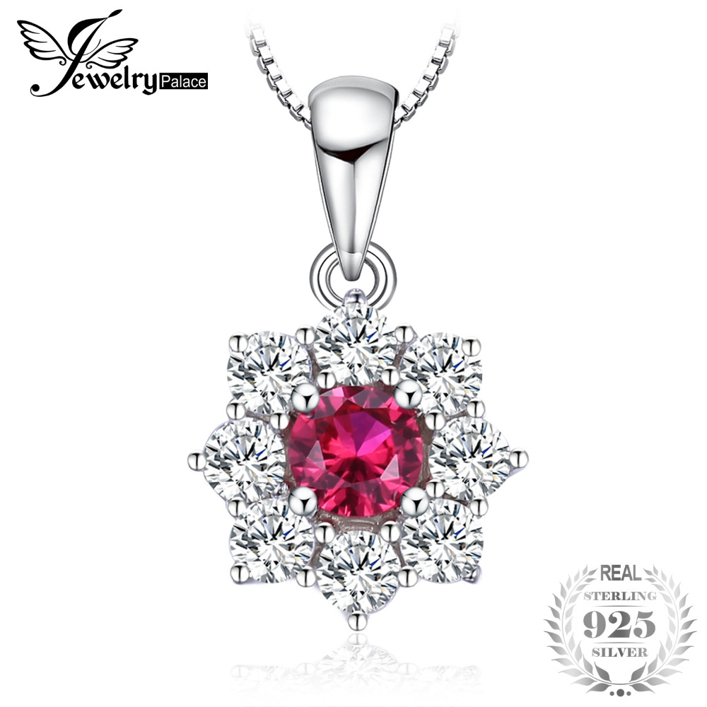 JewelryPalace Flower Created Ruby Halo Pendant