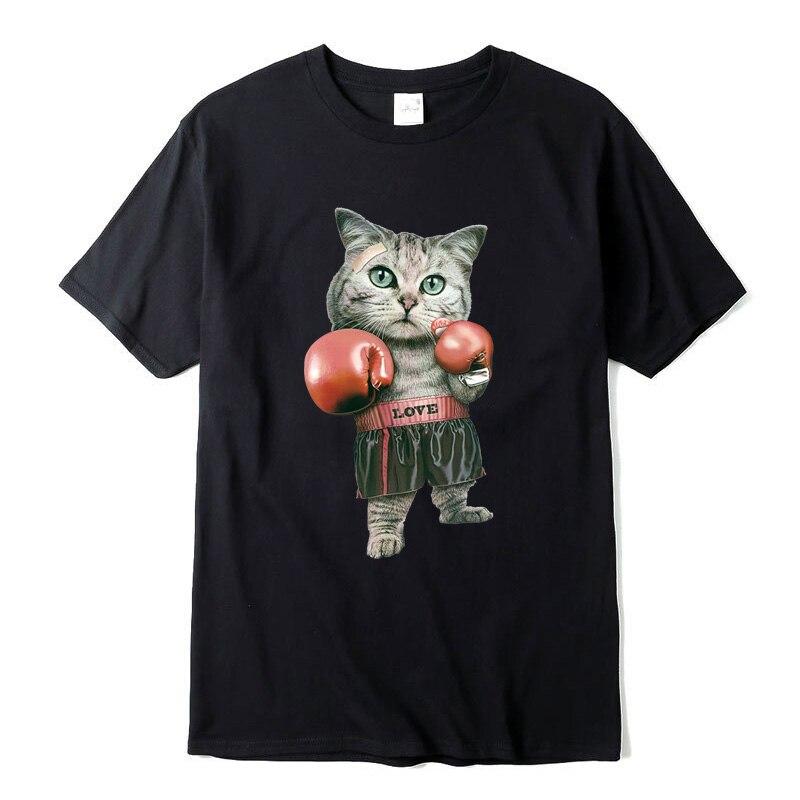 100% Cotton Short Sleeve Funny T Shirts Boxing Cat Printing Men Tshirt Casual Men Tshirt Cool T-shirt Male Tee Shirts