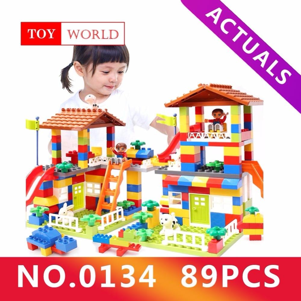 89pcs DIY Colorful City House Roof Big Particle Building Blocks Castle Educational Toy For Children Compatible legoe duplo slide цена